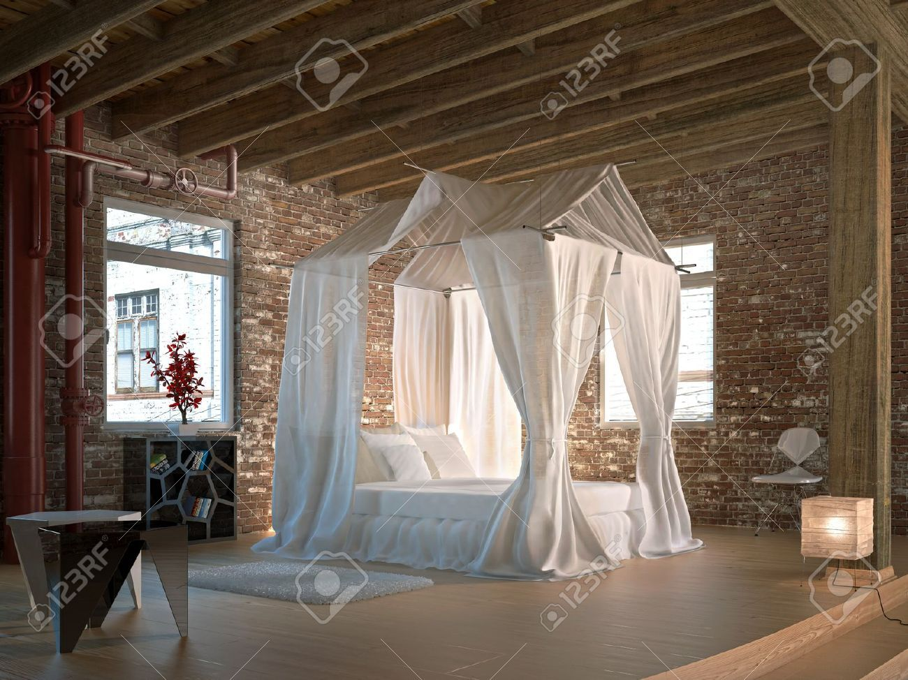 Luxury Loft Bedroom, With Four Poster Bed Wooden Floor And Ceiling.. Stock  Photo