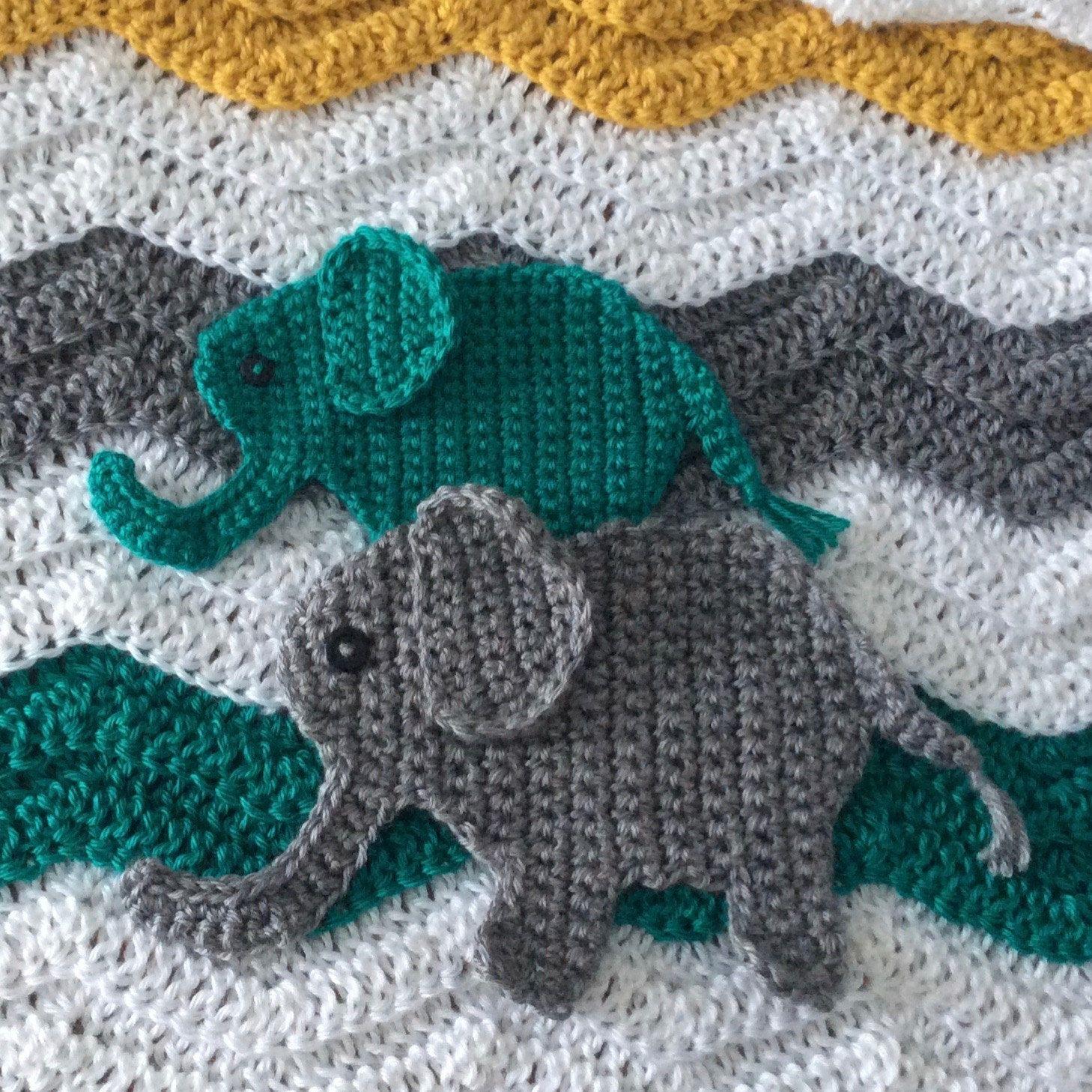 Crochet Elephant Applique Pattern; Jungle Nursery Crochet Pattern by ...