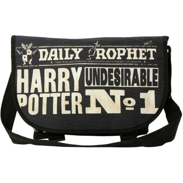 Harry Potter Daily Prophet Messenger Bag | Hot Topic ($10) ❤ liked on Polyvore featuring bags, messenger bags, accessories, pattern bag, black messenger bag, canvas courier bag, canvas messenger bag and print messenger bag