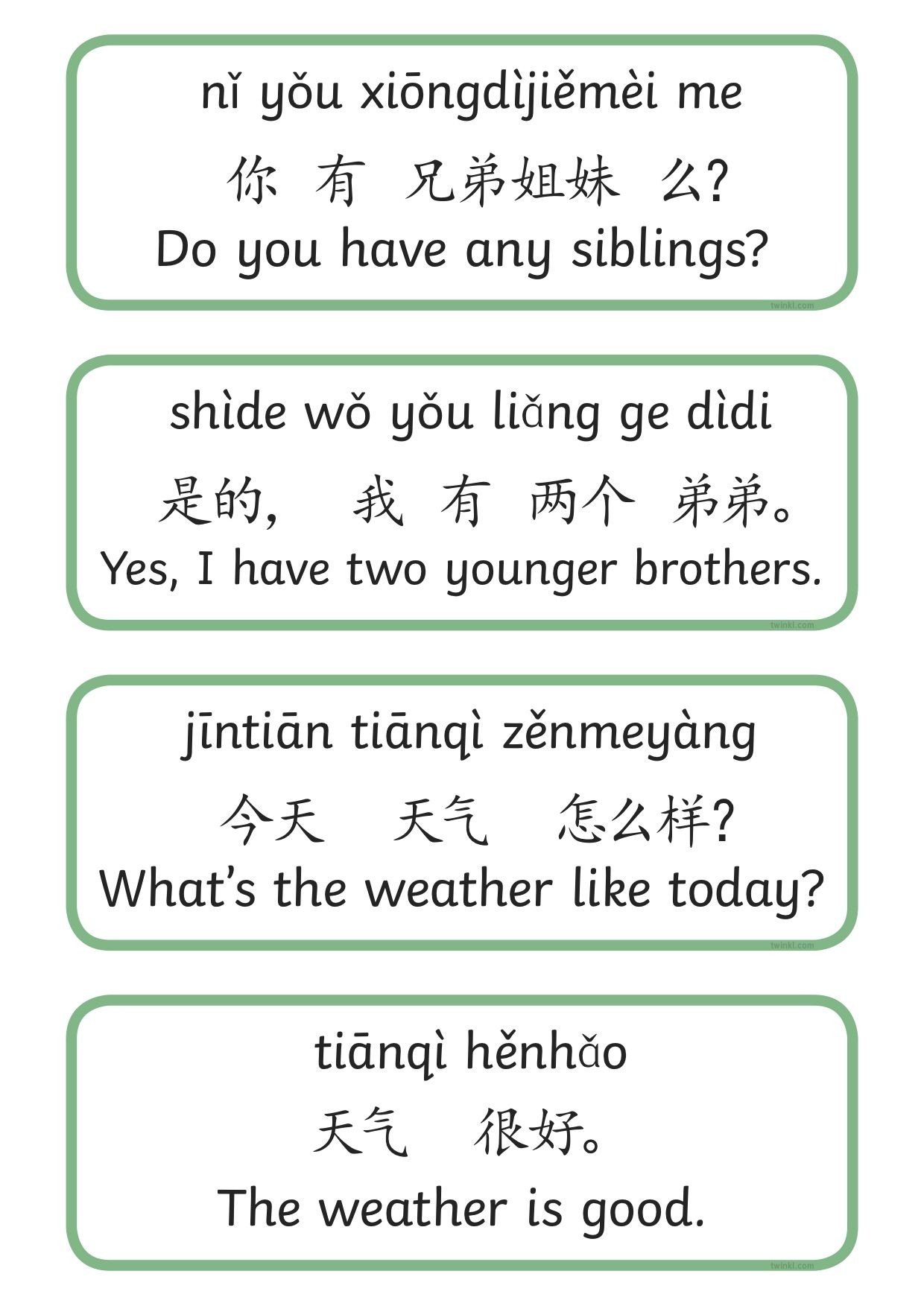 Hsk Level 1 Basic Phrases Amp Sentence Cards