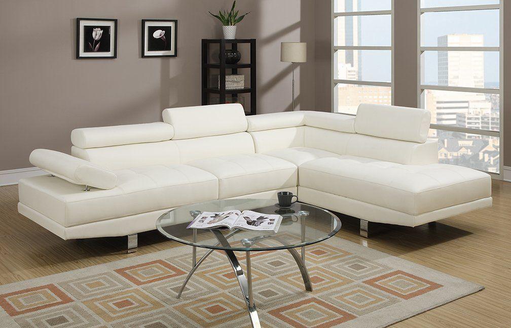 Groovy Amazon Com Poundex 2 Pieces Faux Leather Sectional Right Customarchery Wood Chair Design Ideas Customarcherynet
