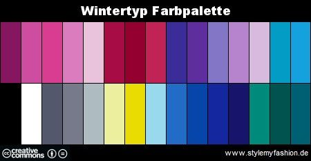 farbtyp bestimmen finde deine perfekten farben wintertyp pinterest farben farbpalette. Black Bedroom Furniture Sets. Home Design Ideas