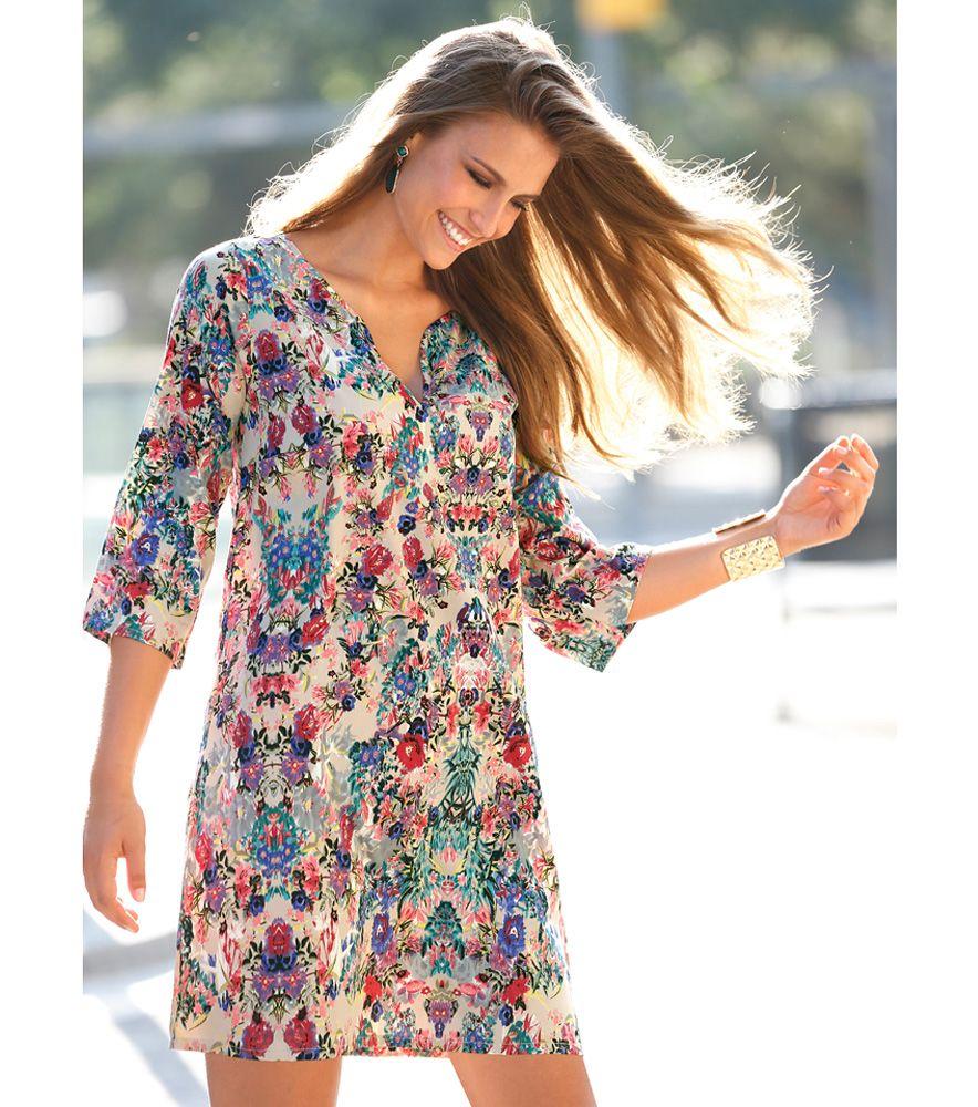 456dc090 Vestido túnica mujer manga larga estampado Moda Mujer 5N Venca ...