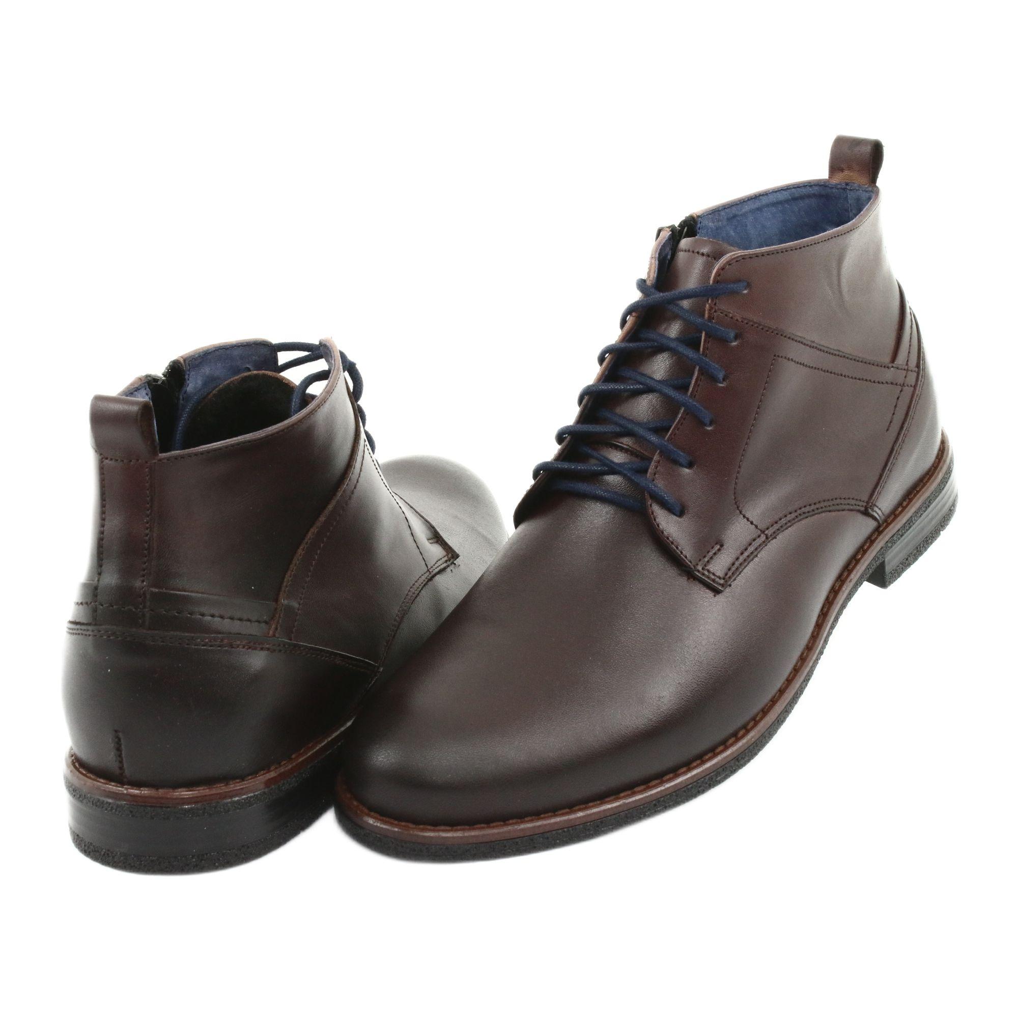 Trzewiki Skorzane Na Suwak Nikopol 702 Brazowe Mens Winter Boots Dress Shoes Men Zipper Boots