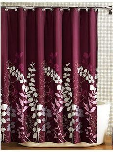 Ashdawn Bathroom FABRIC Shower Curtain Burgundy Wine Gray Lavender Floral Leaf 70x72 Excellent Quality NEW Hometrends