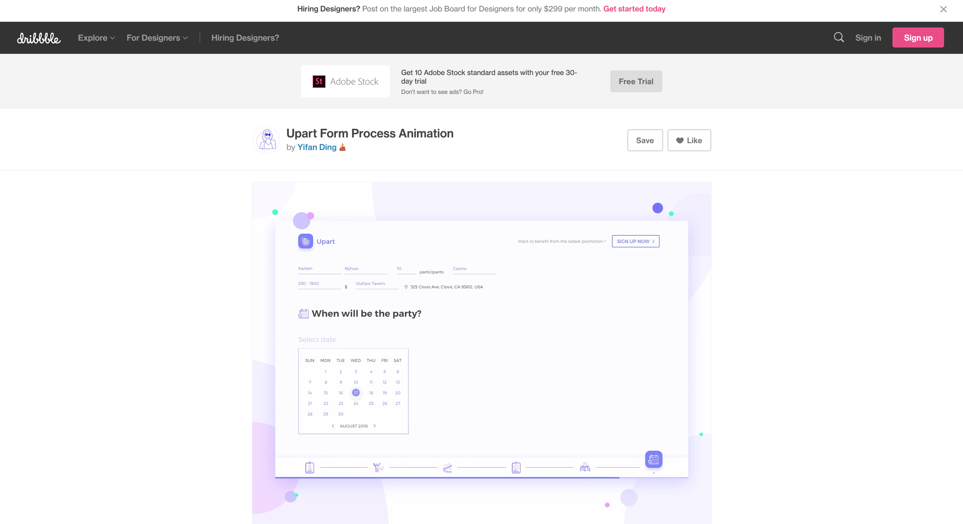 Upart Form Process Animation By Yifan Ding On Dribbble In 2020 Web Design Animation Animation Design