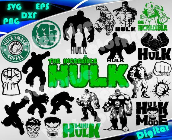 Hulk svg Superheroes svg Hulk clipart silhouette stencil file cricut