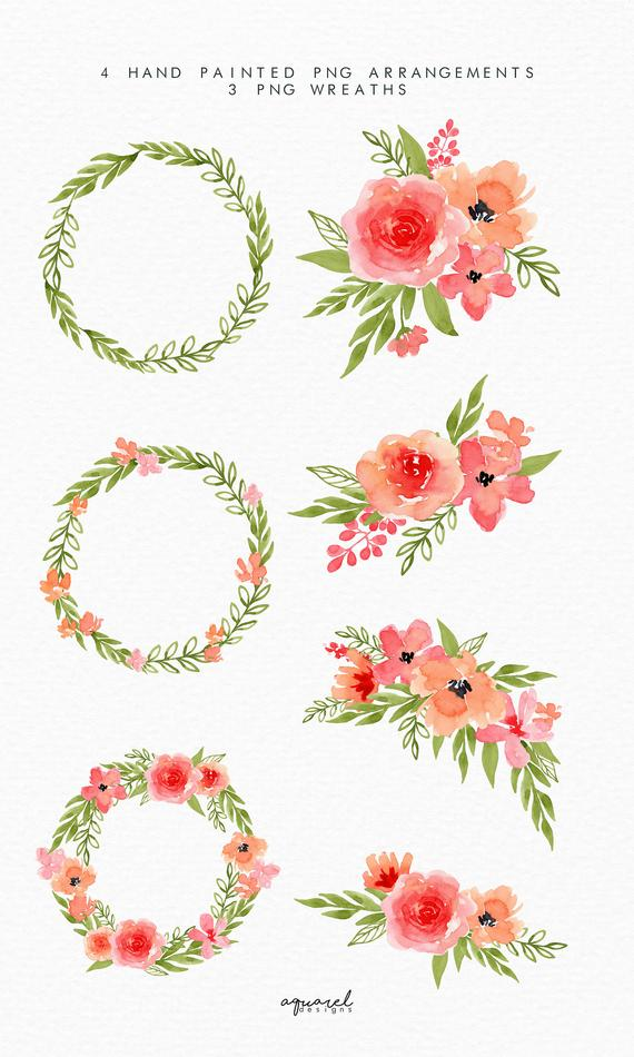 Watercolor Orange And Coral Pink Spring Floral Clipart