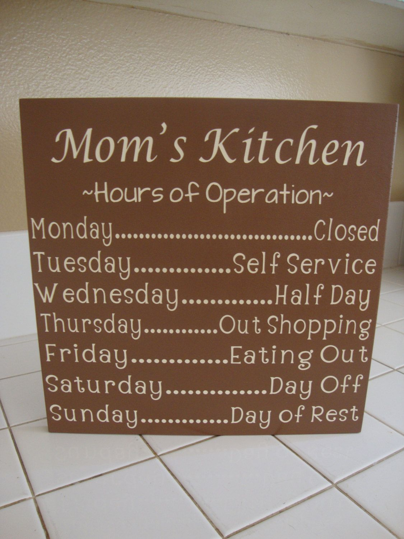 Kitchen Sign Decor Personalized Kitchen Sign Mom's Kitchen Mimi's Kitchen Hours Of