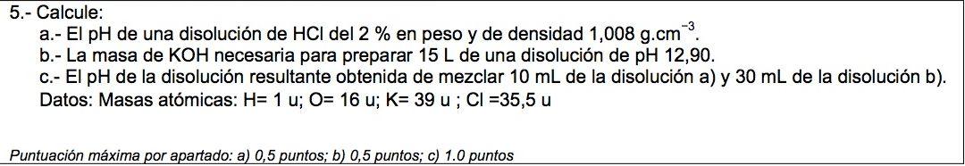Ejercicio 5, propuesta 2, JULIO 2012-2013. Examen PAU de Química de Canarias. Tema: ácido-base.
