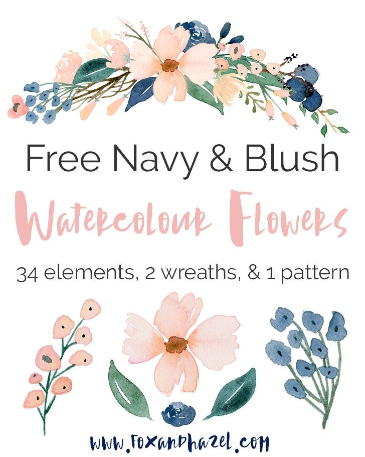Free Blush Navy Flower Graphics Free Watercolor Flowers