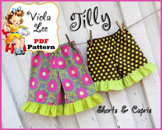 Tilly...Ruffled Girls Capris Pattern, Girls Shorts Pattern. Tailored ...