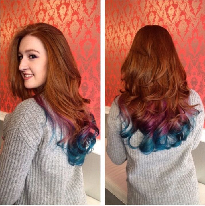 Color Ideas For Natural Redheads : Natural red hair turquoise dip dye. i would love to do this but