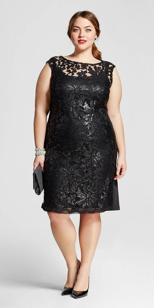 Plus Size All Over Lace Sequin Social Dress Fatshionistas Plus