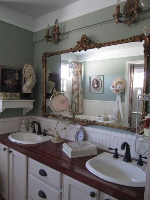 Elegant Landhaus, Badezimmer, Französisch Land Badezimmer, Vintage Bäder, Spiegel  Badezimmer, Badezimmer Mit Dusche, Französisch Landhausstil, Der Spiegel,  ...