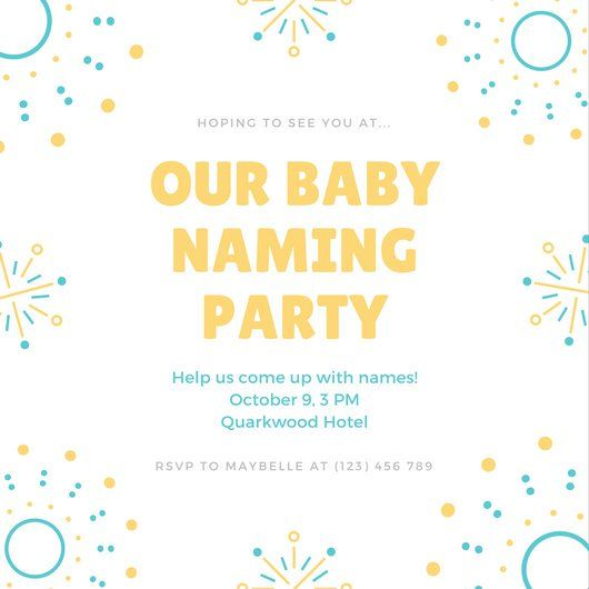 Blue Yellow Fireworks Illustration Baby Naming Ceremony Invitation