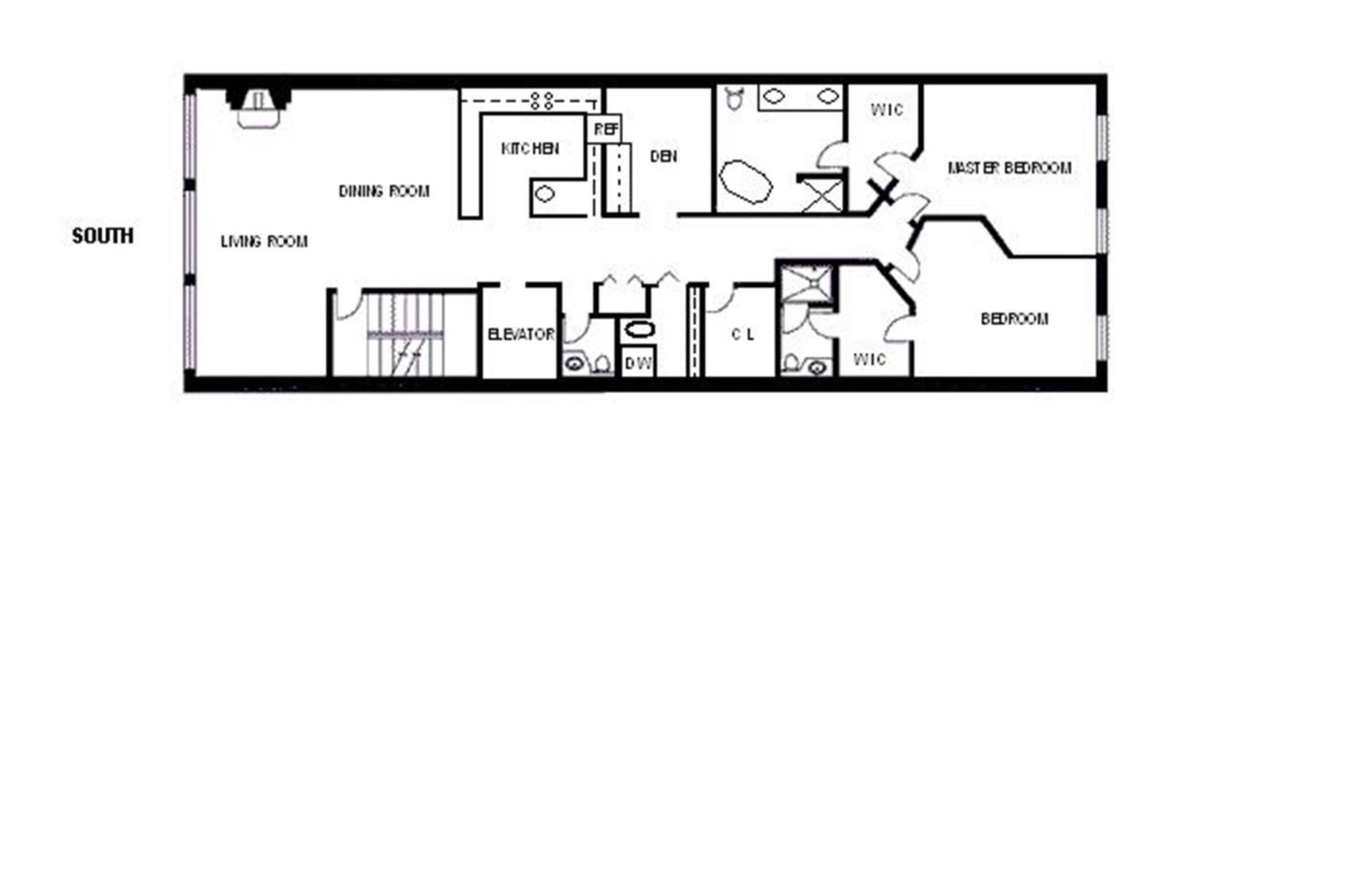 Long and narrow floor plans open kitchen google search for Long narrow house floor plans