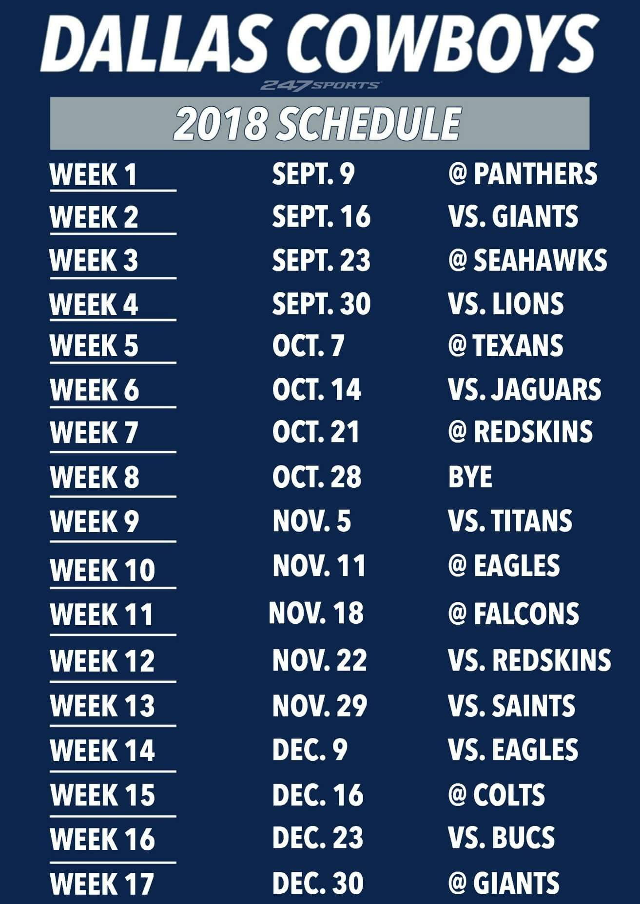 2018 Dallas Cowboys Schedule Dallas cowboys schedule