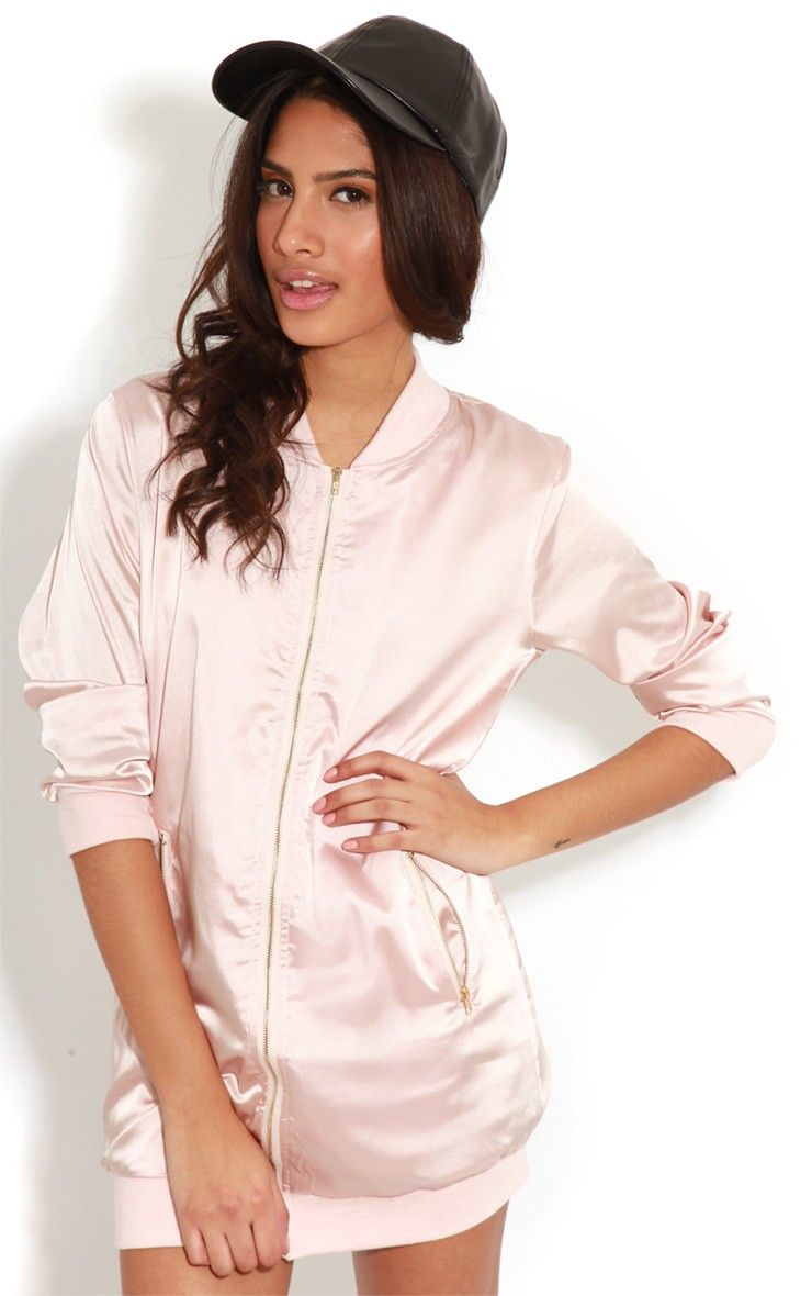 Clara Pink Silk Bomber Jacket Image 1 | back 2 skool | Pinterest ...