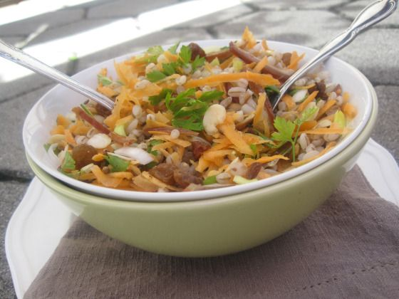 Salad with Barley, Carrots, Raisins, Dates, Parsley and Almonds.