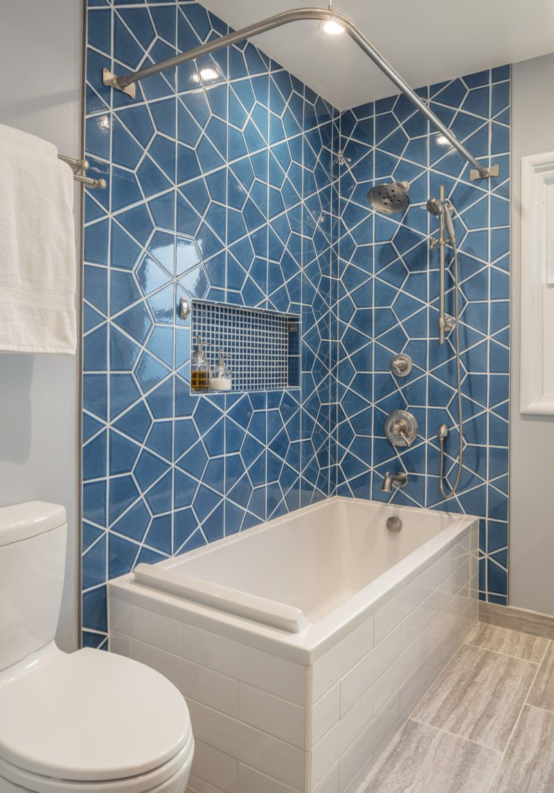 Handmade Blue Hex Tile Bath | Fireclay Tile | Fireclay Tile