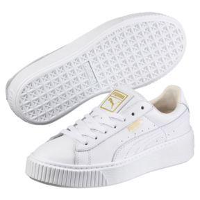 Puma Suede Platform White Gold Chaussures Baskets femme