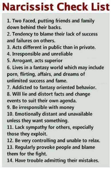 narcissist checklist truth hurts pinterest relationships