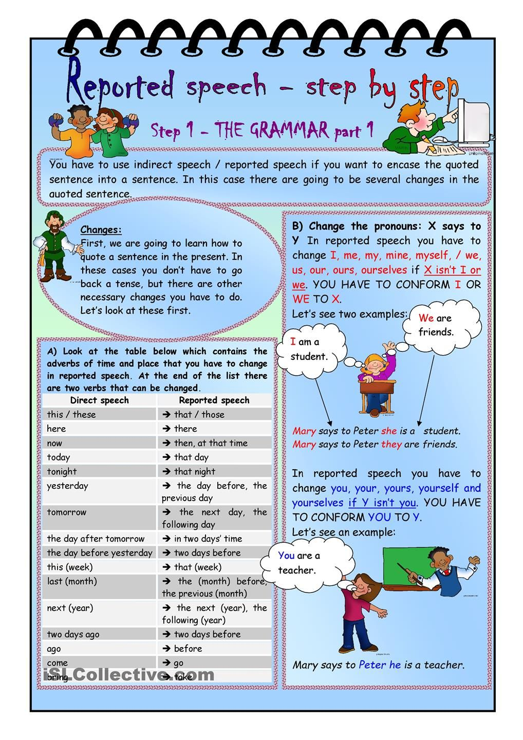 Reported speech step by step Step 1 Grammar part 1 – Step 1 Worksheet