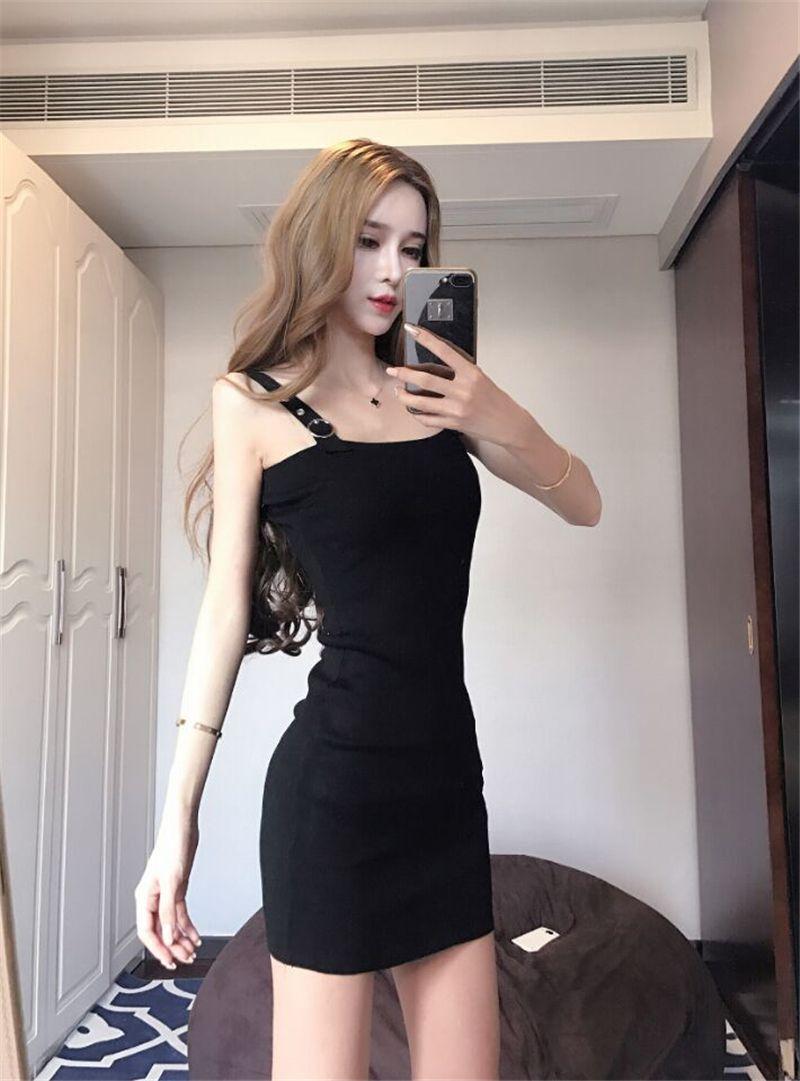 e80197b7edf 2018 Summer Wear Korean Style Fashion New Style Debutante Elegant Suspender  Strap Low-Cut Slim Fit Knitted Base Sheath Dress Fashion