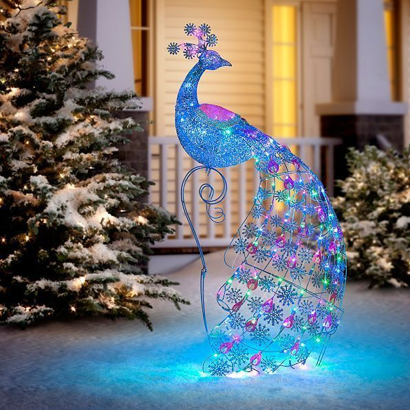 holiday christmas lighted led peacock indoor outdoor yard art prelit lawn decor unbranded