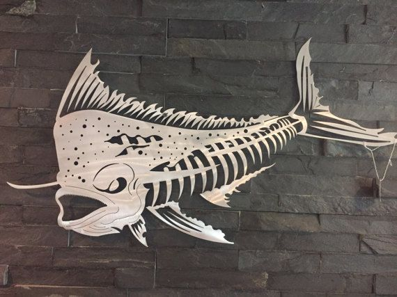 Mahi Mahi Bones Metal Wall Art Metal Fish Art Metal Home Decor Etsy Fish Art Art Sheet Metal Art
