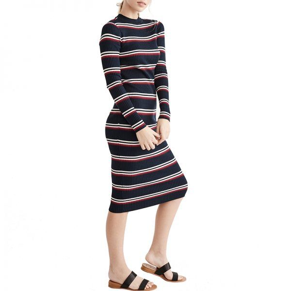 - A midi-length ribbed dress is the perfect foundation to mix in with layers, as it pairs well with all manner of boots and sleekouterwear.Abercrombie Lurex Midi Sweater Dress, $39