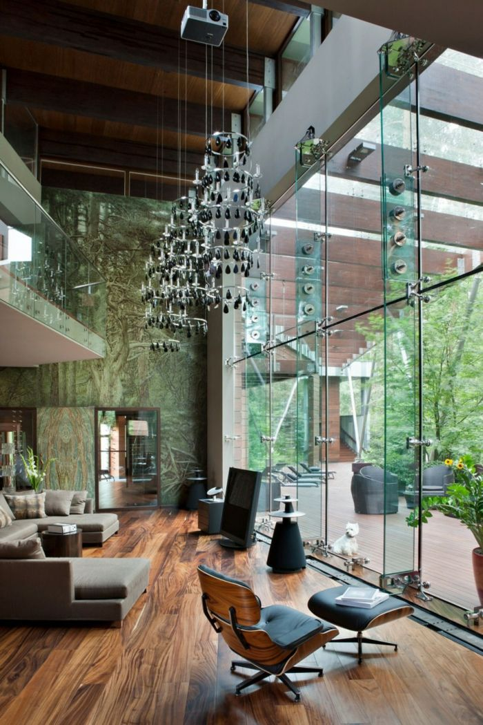 Wohnzimmer Einrichten Ideen Holztextur Bodenbelag Relaxsessel Cooler  Leuchter