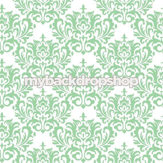4ft X 4ft Mint Green Damask Wallpaper Newborn Photography Backdrop