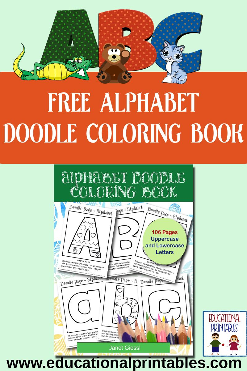 FREE Alphabet Doodle Coloring Book | Preschool Freebies | Pinterest ...