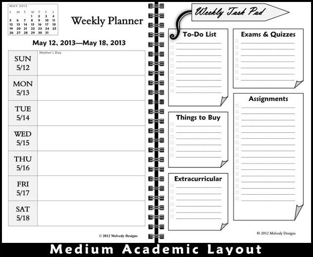 Love these customized planners from Melvedy Designs College - sample student agenda