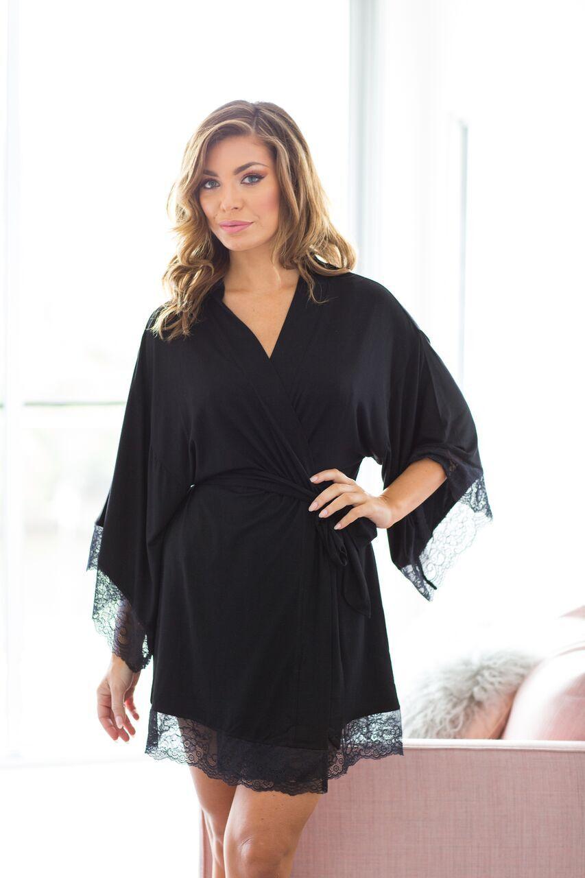 d68b322077b05 Serafina Kimono robe - Black   Lingerie, Sleepwear, and Swimwear ...