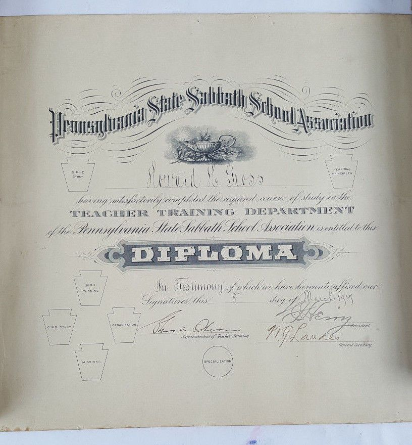 Details about 1917 HOWARD H. GROSS SIGNED PENNSYLVANIA