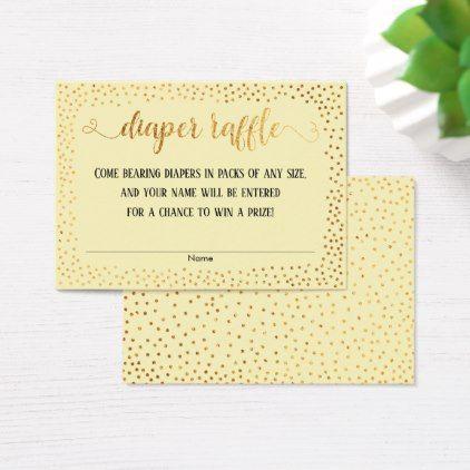 Gold Confetti  Script Yellow Diaper Raffle Cards - typography gifts - confeti