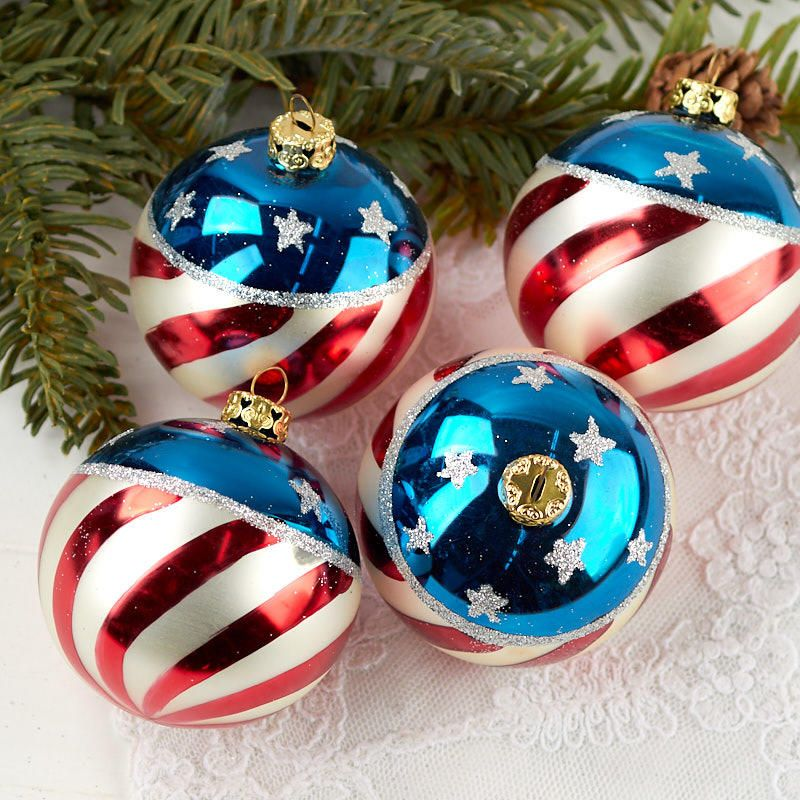 Hand Painted Patriotic Christmas Ball Ornaments - Hand Painted Patriotic Christmas Ball Ornaments Red, White & Blue