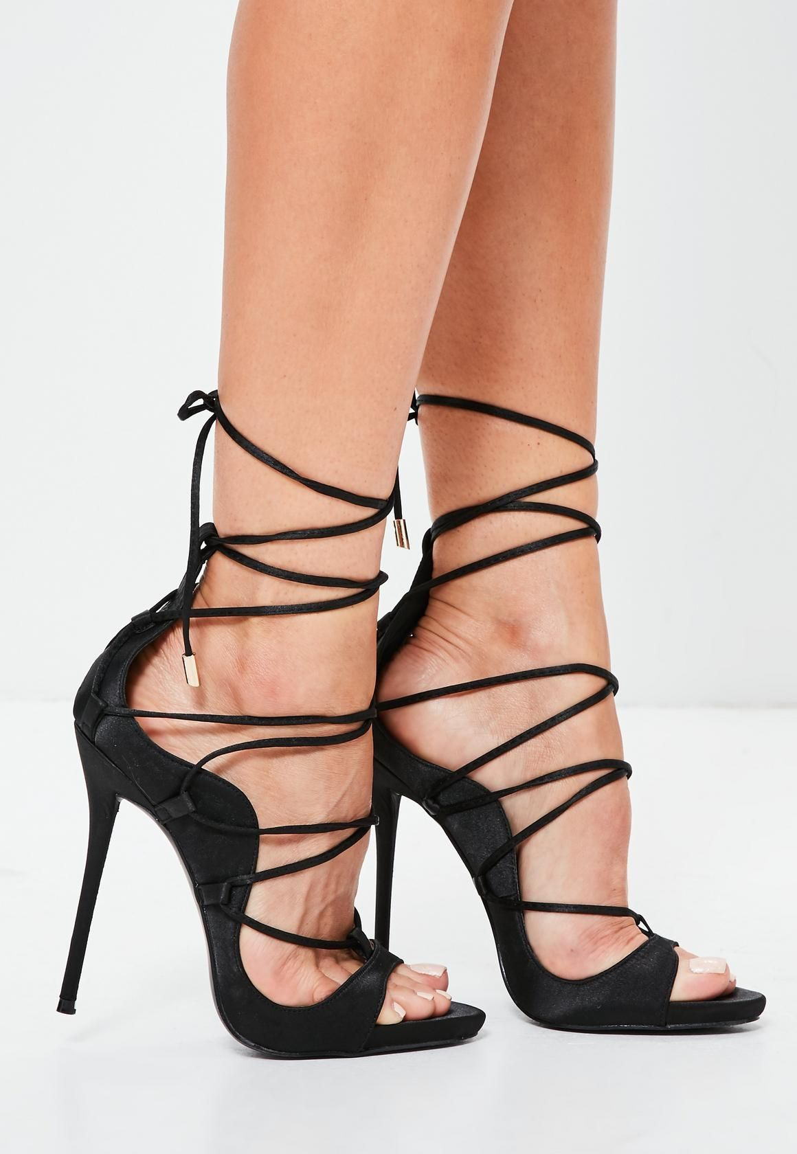 59e431ecea7 Missguided - Black Satin Gladiator Sandals