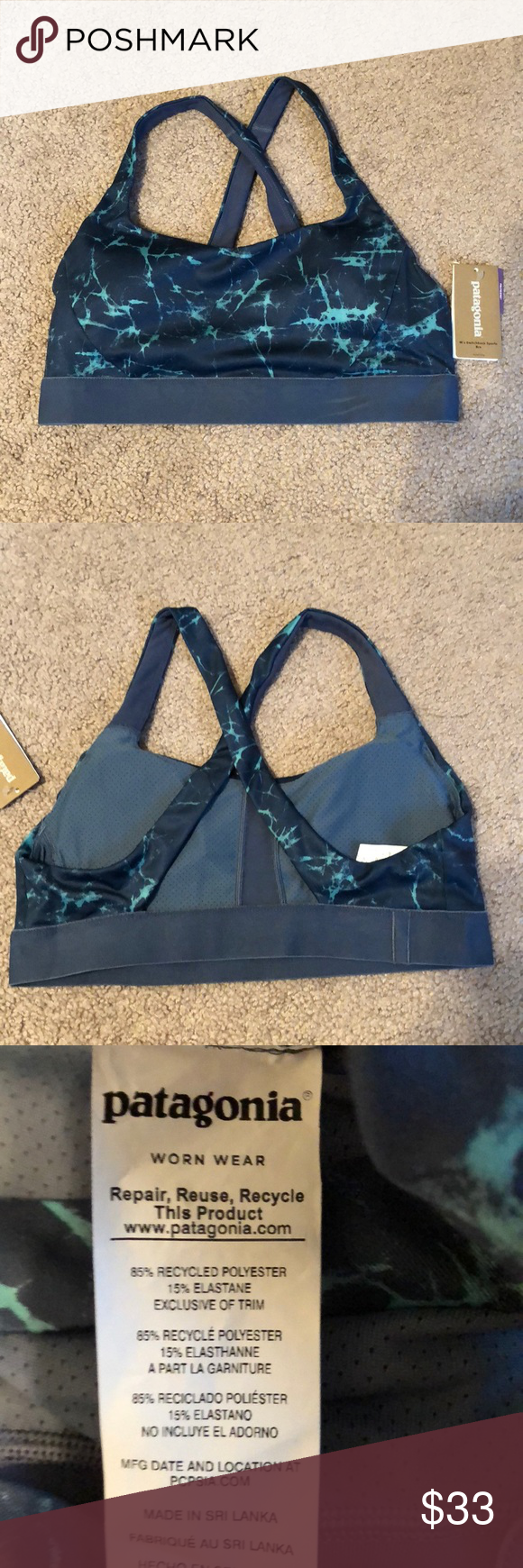 9160e38c81a1b NWT Patagonia Switchback Sports Bra Brand new! Removable cups ...