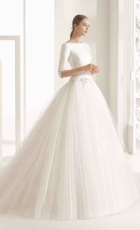 Quarter Length Sleeve Silk Bodice Tulle Skirt Wedding Dress Girly
