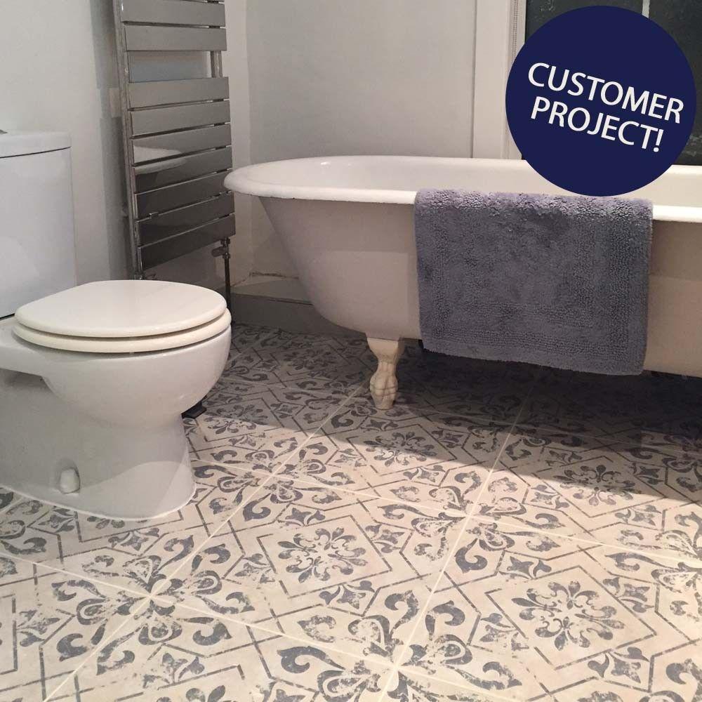 Antique Vintage Blue Floor Tiles Harran Tiles 450x450x95mm Tiles - Vintage-blue-bathroom-tiles