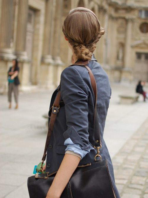Hair-spiration    A beautifully twisted bun on Lindsey Wixon in Paris.