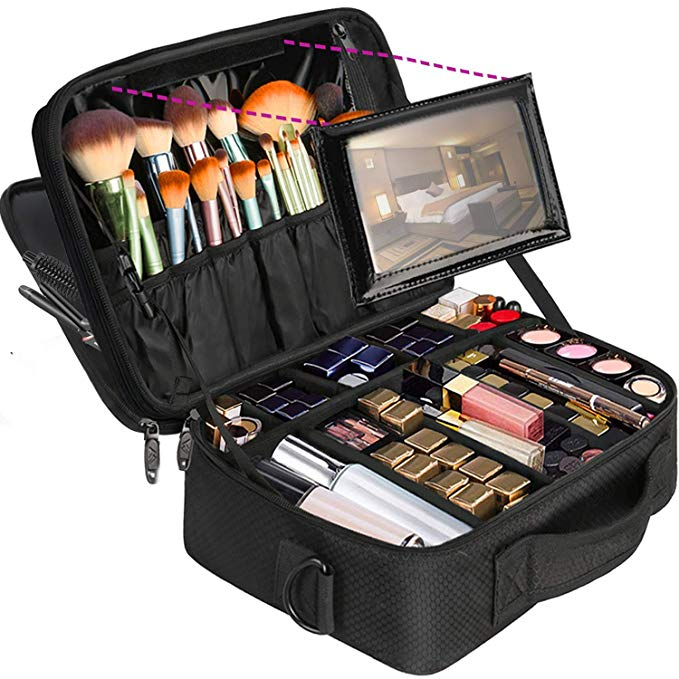 Amazon Com Professional Makeup Bag Large Travel Cosmetic Makeup Train Case With Mirror For Wome In 2020 Makeup Storage Bag Makeup Train Case Portable Makeup Storage