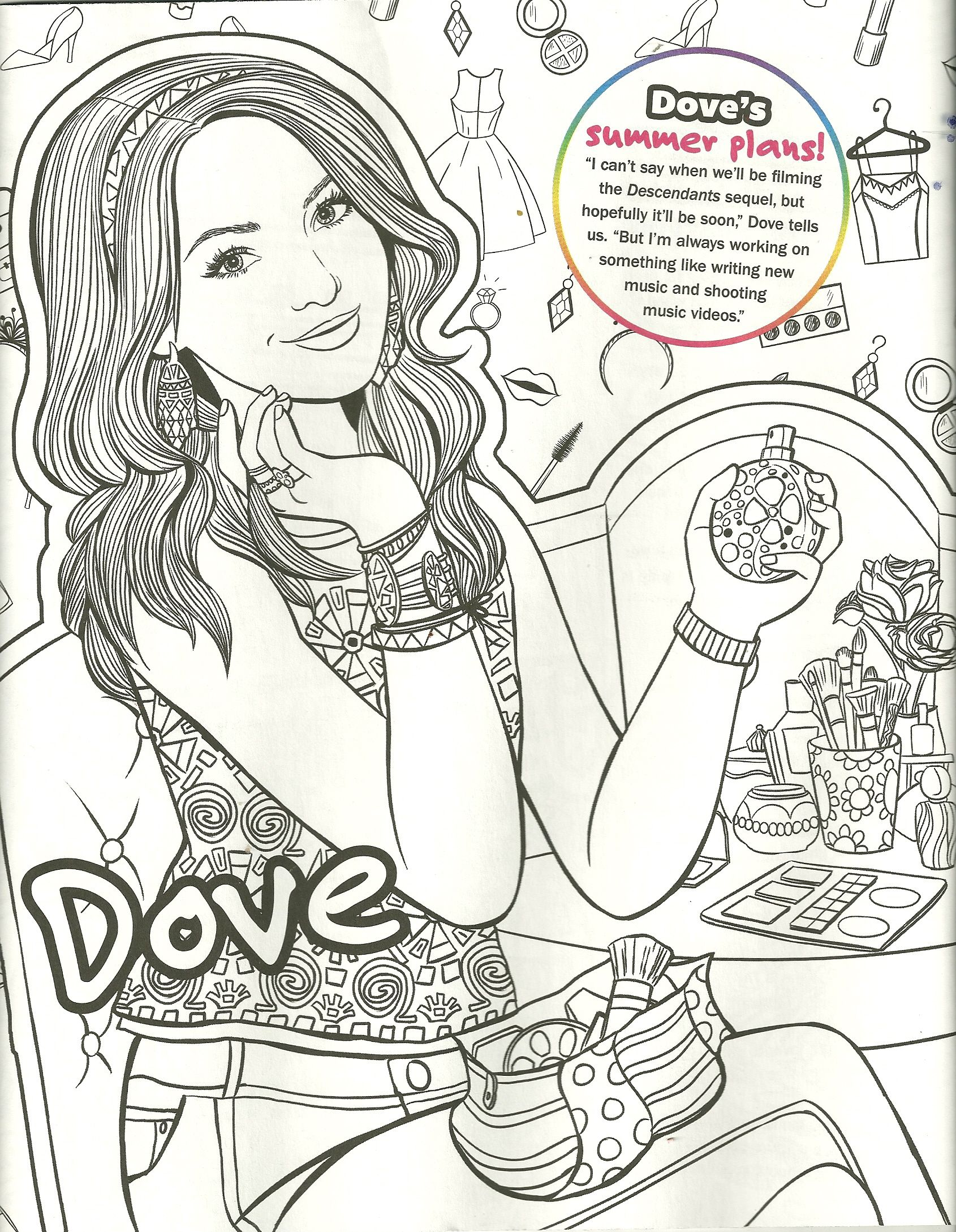 dove cameron / liv/ maddie / mal coloring page