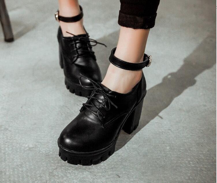 2452cc1740 Women's Block High Heel Platform Lolita Ankle Strap Lace Up Shoes ...