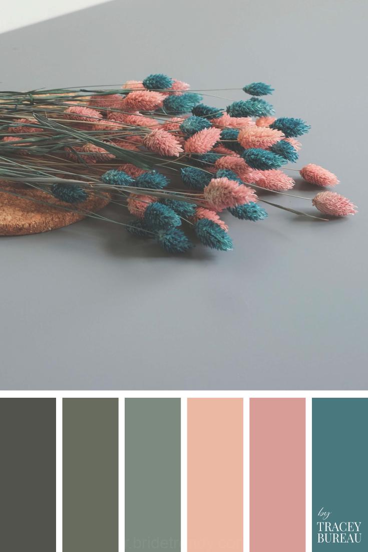 Teal & Peach Fleurs De La Couleur De La Palette | Palette De Couleurs | Couleurs | Couleurs De La Palette D'Inspiration