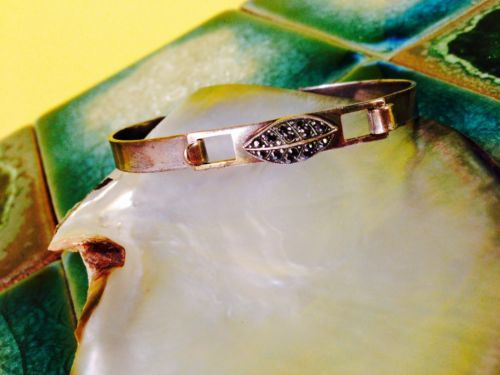 Faceted-Silver-Rhinestone-Latch-Bracelet-Simple-Career-Vintage-Antique-Estate